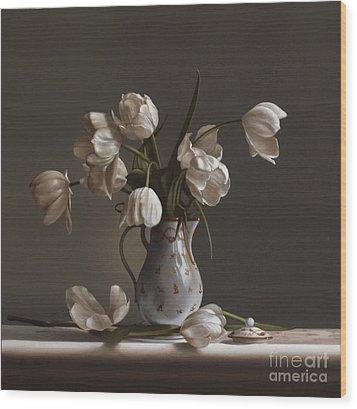 White Tulips Wood Print by Larry Preston