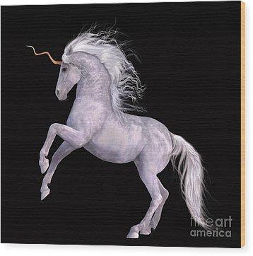 White Unicorn Black Background Half Rear Wood Print