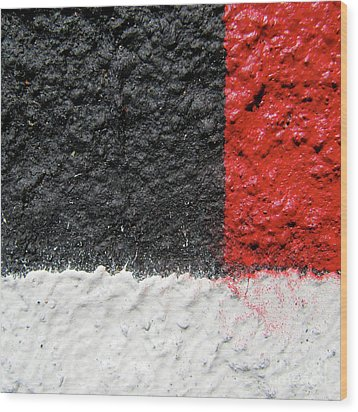 White Versus Black Over Red Wood Print by CML Brown
