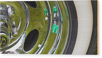 White Wall Tyre Chrome Rim And Dice Wood Print by Mick Flynn