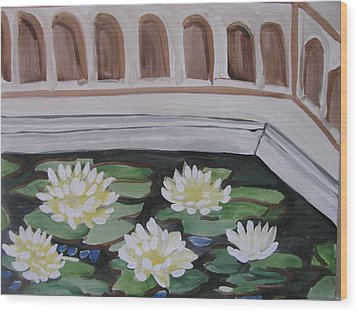 Wood Print featuring the painting White Water Lilies by Vikram Singh
