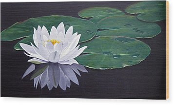 White Water Lilly Wood Print by Birgit Coath