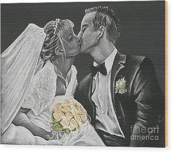 White Wedding Wood Print by Katharina Filus