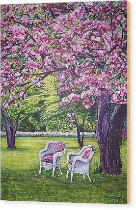 White Whicker Chairs Wood Print by Linda Vaughon