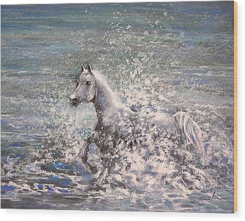 White Wild Horse Wood Print by Miki De Goodaboom