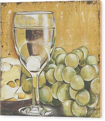 White Wine And Cheese Wood Print
