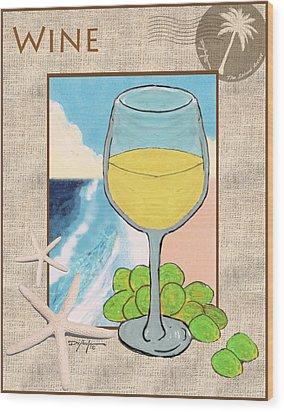 White Wine Beachside Wood Print by William Depaula