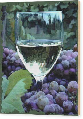 White Wine Reflections Wood Print by Elaine Plesser