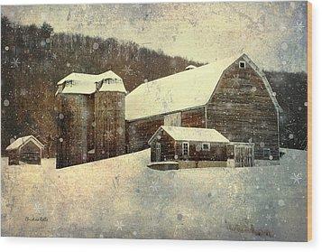 White Winter Barn Wood Print by Christina Rollo