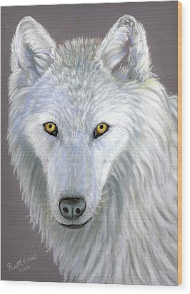 White Wolf Wood Print by Ruth Seal