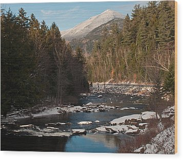 Whiteface Mountain At Monument Falls Wood Print