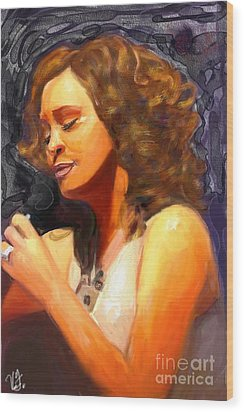 Wood Print featuring the painting Whitney Gone Too Soon by Vannetta Ferguson