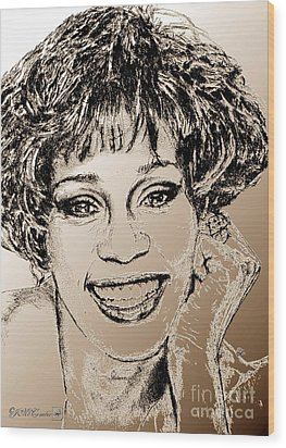 Whitney Houston In 1992 Wood Print by J McCombie