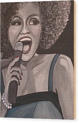 Whitney Houston Wood Print by Kate Fortin