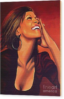 Whitney Houston Wood Print by Paul Meijering