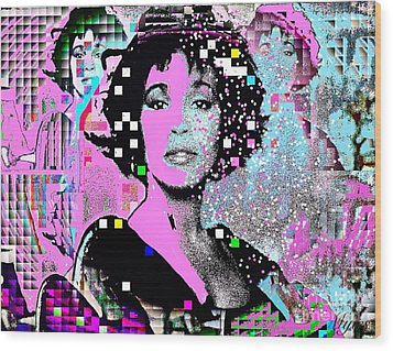 Whitney Houston Sing For Me Again 2 Wood Print by Saundra Myles