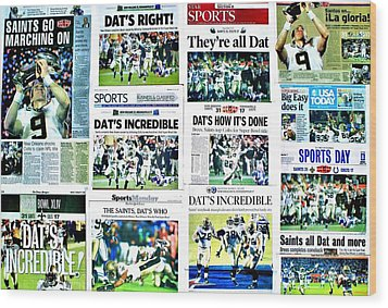 Who Dat Headlines Wood Print by Benjamin Yeager