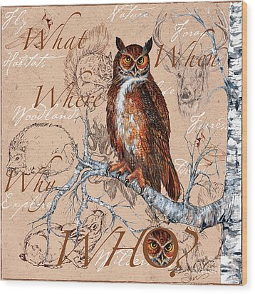 Who Owl Wood Print