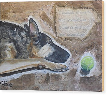Who Rescued Who Wood Print by Melissa Torres