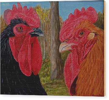 Wood Print featuring the painting Who You Calling Chicken by Karen Ilari