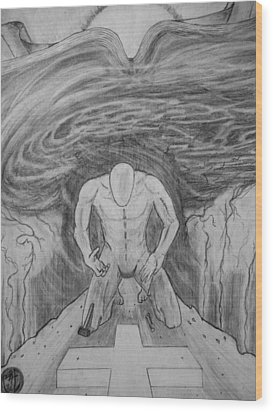 Wood Print featuring the drawing Whom Shall I Fear Part 1 by Justin Moore