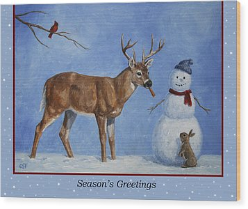 Whose Carrot Seasons Greeting Wood Print by Crista Forest