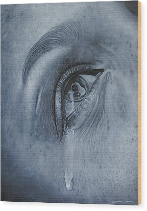 Why Is She Crying Wood Print by David Dunne