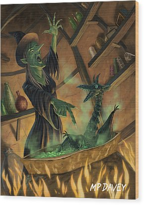 Wicked Witch Casting Spell Wood Print by Martin Davey