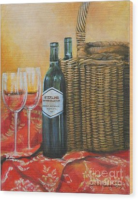 Wicker And Wine Wood Print