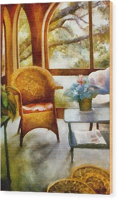 Wicker Chair And Cyclamen Wood Print by Michelle Calkins