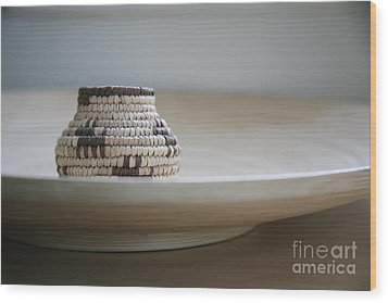Wicker On Wood Wood Print