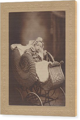 Wood Print featuring the photograph Wicker Pram by Paul Ashby Antique Image