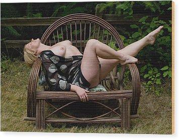 Wicker Seat Wood Print by Michael Walnum