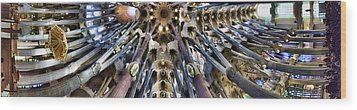 Wide Panorama Of The Interior Ceiling Of Sagrada Familia In Barcelona Wood Print by David Smith