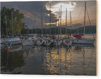 Wierzba Yacht Marina In The Afternoon Wood Print by Julis Simo