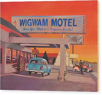 Wood Print featuring the painting Wigwam Motel by Art James West