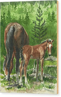 Wild Alberta Mare And Foal Wood Print
