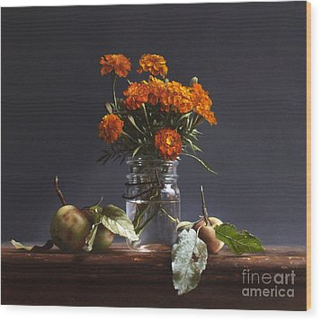 Wild Apples And Marigolds Wood Print by Larry Preston