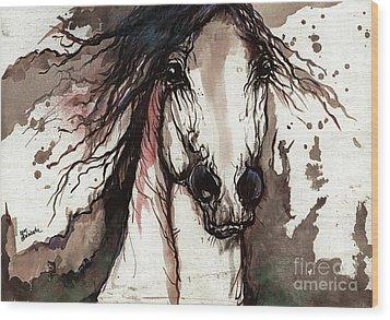 Wild Arabian Horse Wood Print by Angel  Tarantella