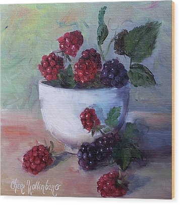 Wood Print featuring the painting Wild Blackberries by Cheri Wollenberg