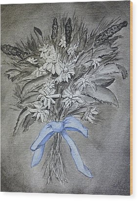 Wood Print featuring the painting Wild Blue Flowers by Kelly Mills
