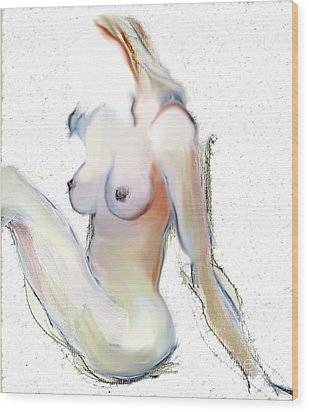 Wood Print featuring the mixed media Wild - Female Nude by Carolyn Weltman