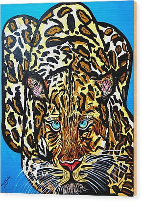 Wood Print featuring the painting Wild Cat by Nora Shepley