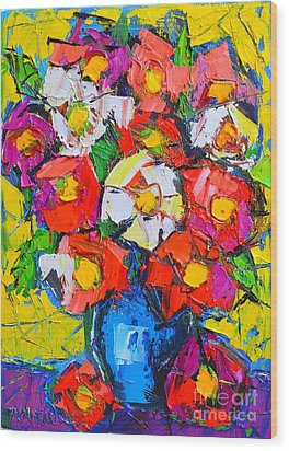 Wild Colorful Flowers Wood Print by Ana Maria Edulescu