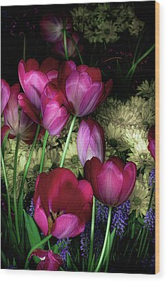 Wild Crazy Beautiful Tulip Garden Wood Print