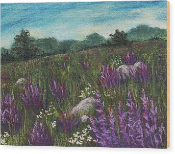 Wild Flower Field Wood Print by Anastasiya Malakhova