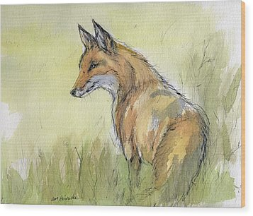 Wild Fox Watercolor Painting Wood Print by Angel  Tarantella