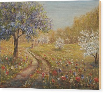 Wood Print featuring the painting Wild Garden Path by  Luczay