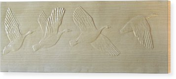 Wild Geese Wood Print by Deborah Dendler