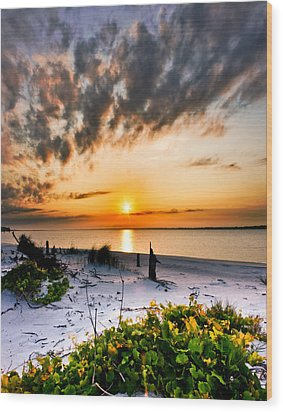 Wood Print featuring the photograph Wild Grape Sunset Orange Sun Beach White Sand Landscape Art by Eszra